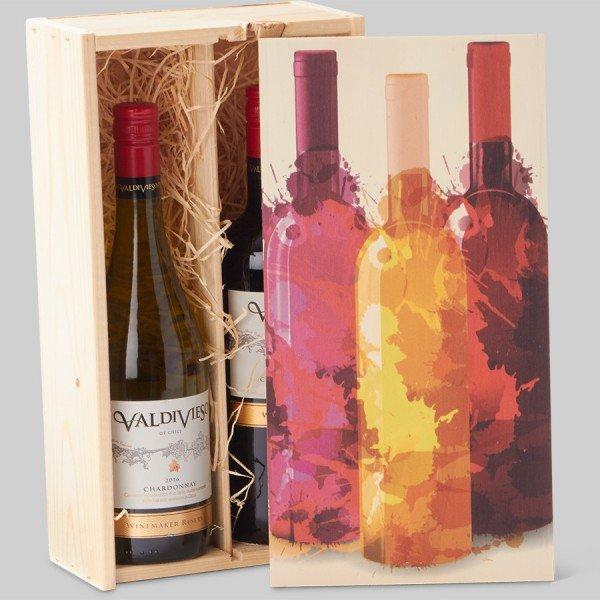 Wijnkist hout- Veldhuizen Grafisch Effect - Barneveld